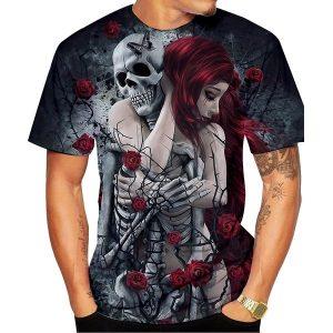 CAMISETA 2019 Nova Moda Homens / Mulheres 3D Imprimir O Crânio Gótico E Rosas T-shirt R$55,00  FRETE GRATIS SITE aqui www.DUGEZZU.com.br boas comprastes