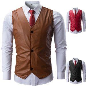 Colete de couro dos homens de moda nova Casual Slim Fit couro casaco sem mangas Wasitcoat  R$160,00 FRETE GRATIS  SITE aqui www.DUGEZZU.com.br boas compras
