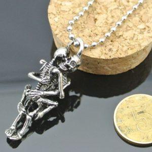 COLAR Homens colar de jóias Vintage caveira Banhado a prata esqueleto de Aço Inoxidável Preto Colar de Corrente Pingente SHANSHAN FRETE GRATIS