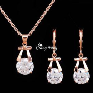 COLAR BRINCO Louco Feng banhado a ouro CZ pedra bowknot pingente de colar brincos mulheres conjuntos de jóias FRETE GRATIS