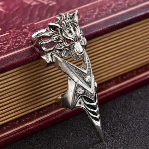 ANEL ARTICULADO Anéis de cabeça do lobo do punk dos homens Anéis de Rock Fashion Knuckle Titanium Anéis de dedo completos FRETE GRATIS
