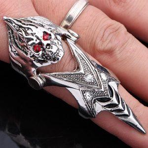 ANEL ARTICULADO Mens Punk Chama Crânio Anéis Moda Rock Knuckle Titanium Anéis de dedo completos FRETE GRATIS