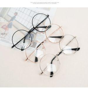 Óculos de armação de metal de círculo redondo retro vintage Óculos de lente clara FRETE GRATIS