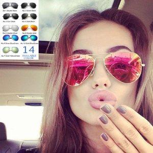 OCULOS Mulheres óculos polarizados espelho de condução aponta óculos de sol anti-UV FRETE GRATIS