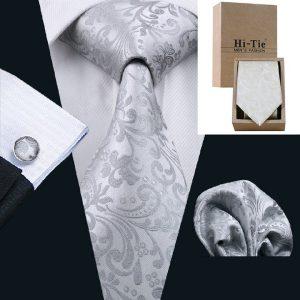 GRAVATA 20 estilos dos homens clássicos gravata jacquard gravata de seda lenço de prata abotoaduras para festa de casamento de negócios com caixa de presente FRETE GRATIS120,00