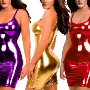 VESTIDO Sexy ladies woman lingerie glisten PVC PVC METAL COURO Underwear Babydoll strapless Party dress shirts bodysuit sólido, FRETE GRATIS