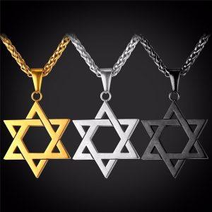 COLAR Jóias judaicas Magen Estrela de David Colar de Pingente de Mulheres Homens Cadeia de 18 K banhado a Ouro de Aço Inoxidável Israel Colar FRETE GRATIS