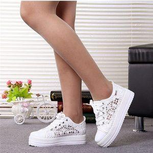 TENIS recortes sapatos de lona de renda oco plataforma floral respirável mulheres sapatos casuais mulher FRETE GRATIS