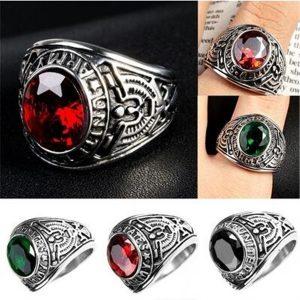 ANEL 4 cores dos EUA anéis militares strass aço inoxidável anel da marinha do exército FRETE GRAIS