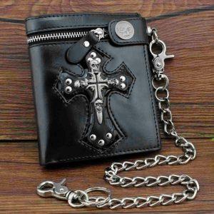 CARTEIRA Couro Preto dos homens novos Slim fold Carteira Punk Skulls Cross Money bolsas com um Jeans Longo chaveiro FRETE GRATIS