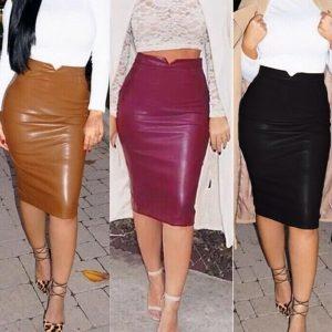 SAIA Moda feminina Macia Saia de Couro PU De Cintura Alta Magro Hip Saias Lápis Bodycon Do Vintage Saia Midi Sexy Clubwear Quente FRETE GRATIS