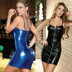 VESTIDO Sexy preto falso PU lápis de couro Bodycon cintura alta Mini vestido Sexy Clubwear FRETE GRATIS