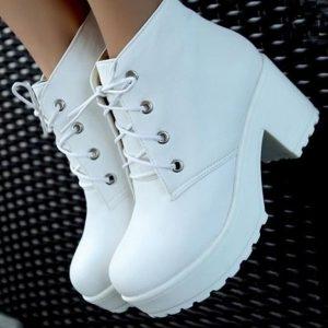 SAPATO Moda feminina de salto alto Ankle Boots Saltos grossos Casual Lace Up Platform Shoes Branco Preto FRETE GRATIS