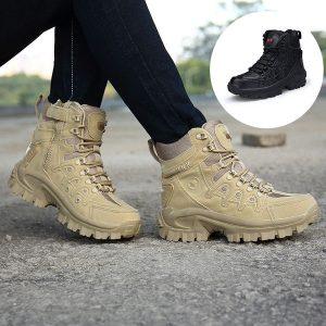 Botas táticas militares Dedo do pé redondo Homens Botas de combate no deserto Botas de tornozelo de couro dos homens ao ar livre FRETE GRATIS