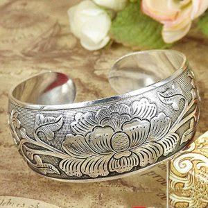 BRACELETE Nation Tibetan Tibet Silver Peony Flower Bangle Bracelete FRETE GRATIS