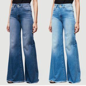 CALÇA Plus size moda feminina de cintura alta jeans perna larga queimado sino calças jeans inferiores FRETE GRATIS