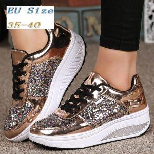 TENIS (EUR 35 ~ 42) Sapatilhas femininas lantejoulas agitar sapatos moda menina esporte sapatos sapatos de fitness (cor: ouro, branco, prata) FRETE GRATI
