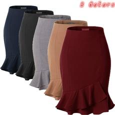 SAIA New Arrival Fashion Women Skirts Mermaid Skirt Elastic Waist Slim Tight Skirt Office Ladies Work Wear Bottoms Fishtail Skirt Plus Size FRETE GRATIS