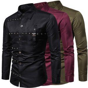 CAMISA Homens moda camisas de metal pesado camisa de boate de manga longa FRETE GRATIS