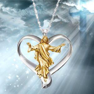 COLAR 14KRGP Cruz Jesus White & Gold Pingente de Coração Mulheres Jóias Colar de Pingente de Corrente de Prata  R$50,00 FRETE GRATIS CADASTRE-SE no SITE www.DUGEZZU.com.br e Boas Compras