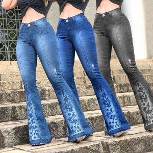 CALÇA Laidies moda Jeans Bordados Calças Perna Larga Calças Jeans Alargamento Bottoms Sino Plus Size S-3XL FRETE GRATIS