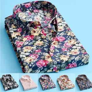 CAMISA Moda Mens Flor Camisas de manga curta Personalidade Camisas Casuais Camisas de negócios FRETE GRATIS