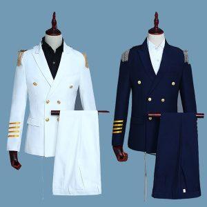 TERNO Terno do capitão dos homens Terno trespassado Epaulettes franjados traje militar FRETE GRATIS