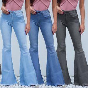 CALÇA Moda Feminina de Cintura Alta Jeans Flares Casual Perna Larga Denim Jeans Azul Sexy Calças Compridas Sino-bottoms FRETE GRATIS