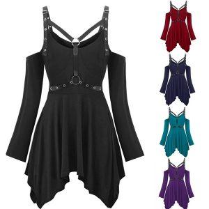 VESTIDO Moda feminina plus size halloween ombro frio arnês t-shirt gótico R$120,00,00 FRETE GRATIS  CADASTRE-SE no SITE www.DUGEZZU.com.br e Boas Compras