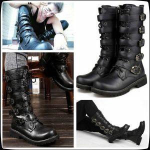 BOTA Nova moda martin botas de motocicleta homens preto retro botas de combate fivela de cinto de couro do punk botas militares FRETE GRATIS