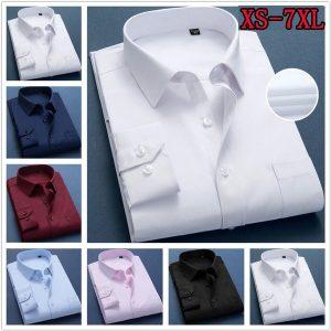 CAMISA Homens de negócios camisa listrada de grandes dimensões com botões na frente para homens camisas magras (XS-7XL) FRETE GRATIS
