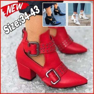 BOTA Novas senhoras da moda botas de couro apontou saltos altos fivelas de cinto sapatos plus size botas femininas 34 ~ 43 FRETE GRATIS