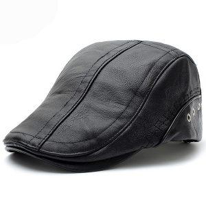 BOINA Boné plano Chapéu de cabby Boné de jornaleiro de couro Vintage Ivy Driving Cap FRETE GRATIS