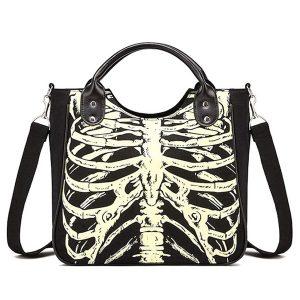 BOLSA Ossos de esqueleto gótico luminoso crânios sacos de rock designer feminino casual bolsas mulheres punk sacos moda bolsa FRETE GRATIS