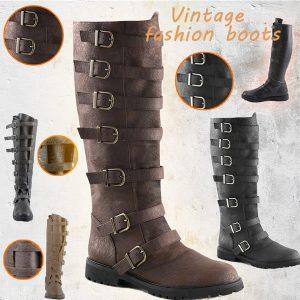 BOTA Punk homem retro puxar fivela multi-fivela botas até o joelho marrom preto usado medieval botas de couro PU moda retro cavaleiro pirata botas de guerreiro Cosplay botas de palco FRETE GRATIS