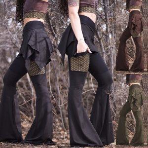 CALÇA Novas mulheres da moda casual gótico sino calças de fundo cintura alta hippie boêmio skort leggings com bolsos FRETE GRATIS