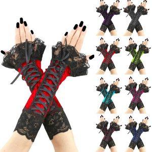 LUVA 8 Cor Mulheres Rendas Bandagem Luvas Sem Dedos Luvas Góticas Braceletes Steampunk Partido Clube Halloween Cosplay Luva Longa FRETE GRATIS