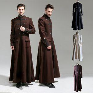 CAPA SOBRETUDO Casaco longo do vintage steampunk para homens gótico casaco de lã inverno quente estilo vitoriano retro jaqueta militar double breasted dress casaco FRETE GRATIS
