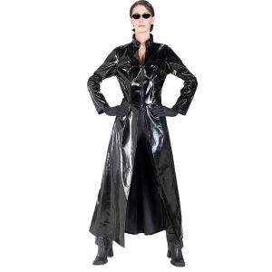 CAPA SOBRETUDO S-XL Unisex Homens Mulheres Catsuit Couro Sexy Casaco Longo Preto Bodysuit PVC Vestido The Matrix Halloween Cosplay Gay Traje de Látex FRETE GRATIS