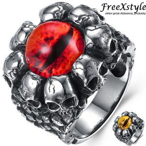 ANEL FreeXstyle Moda Masculina Legal Caveira Anéis Dragon Eye Punk Anéis Hip Hop Moda Jóias FRETE GRTIS