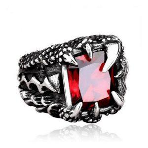 ANEL Aço inoxidável 316L homens góticos do vintage garra de dragão anel de rubi jóias FRETE GRATIS