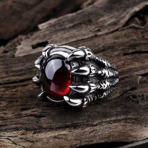 Anel de garra de dragão vintage para homens Anel retro dominador de gema vermelha FRETE GRATIS