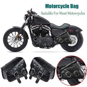ALFOJE Alforjes genéricos para motocicleta Maleta de ferramentas de couro sintético triangular preto com 2 correias, alforjes Bolsa Maleta de ferramentas de couro Pu para Harley Davidson Touring Cruiser FRETE GRATIS
