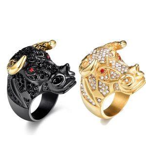 Anéis de moda masculina Blcak e anel de aço inoxidável de ouro FRETE GRATIS