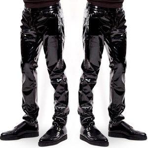 CALÇA Black Wet Look Látex Homens Calças Calças Líquidas para Homens Motocicleta Calças de Couro Calças Estilo Rock FRETE GRATIS