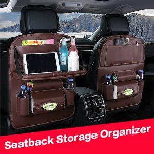 SACO Saco de organizador de armazenamento para trás do assento de carro Universal Caixa de armazenamento multifuncional em couro PU Arrumando o bolso de arrumação com prateleira Acessórios Auto (1 PCS) FRETE GRTIS