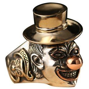 ANEL Homens de aço inoxidável / ouro homens palhaço sorriso rosto presente de qualidade superior para o punk rock menino anel de jóias FRETE GRATIS