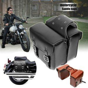 ALFOJE 2 PC Motocicleta Sacos de Sela Laterais de Couro Moto Lado Moto Bag tamanho 29 * 13 * 30 cm Sacos de sela de motocicleta Bolsa de Ferramentas Bolsa de Bicicleta Armazenamento lateral FRETE GRATIS