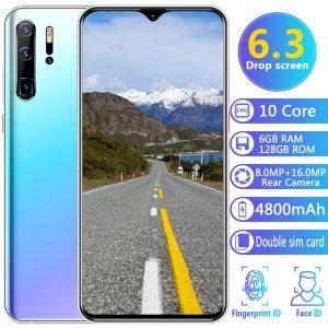CELULAR Smartphones P30 Pro ultrafinos com 6 GB + 128 GB Celular / Bloqueio de impressão digital Cartões duplos para celular Cartões SIM para celular Suporte para celular Cartão inteligente Telefones inteligentes 10 núcleos FRETE GRATIS