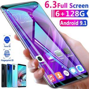 CELULAR Venda quente 6,3 polegadas QHD tela grande P31Pro telefone Android de espera longa 6 + 128 GB de memória grande 8 núcleos rodando Android 9.13.1 reconhecimento de rosto impressão digital de impressão digital de desbloqueio duplo suporte cartão duplo de espera dupla inteligente FRETE GRATIS